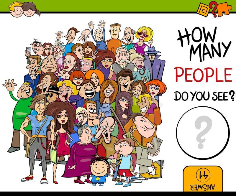 Contando o jogo da atividade dos povos ilustração royalty free