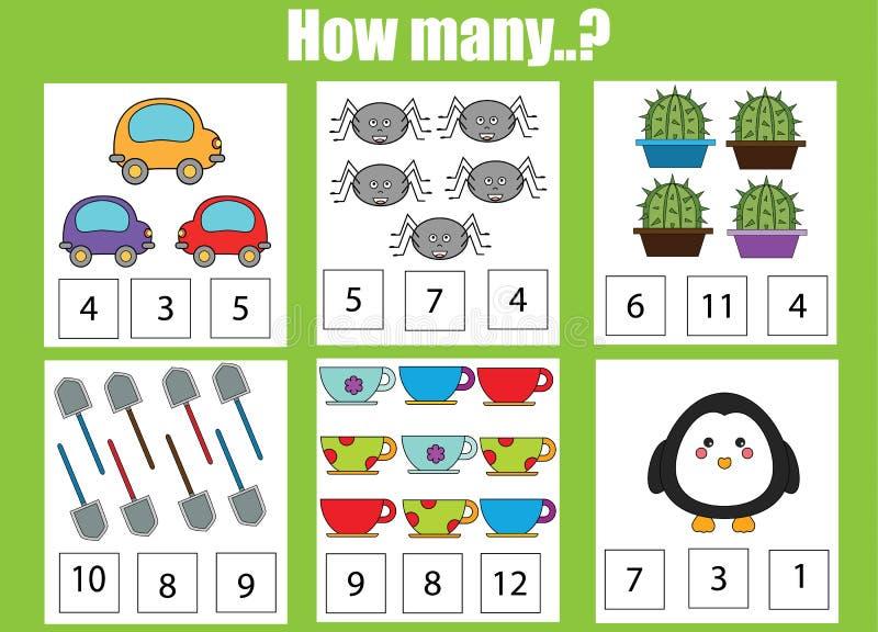 Contando o jogo educacional das crianças, atividade das crianças Quantos objetos se encarregam ilustração do vetor