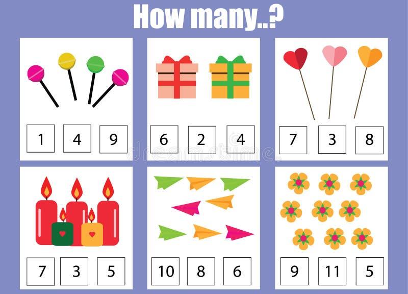 Contando o jogo educacional das crianças, folha da atividade das crianças Quantos objetos se encarregam ilustração stock