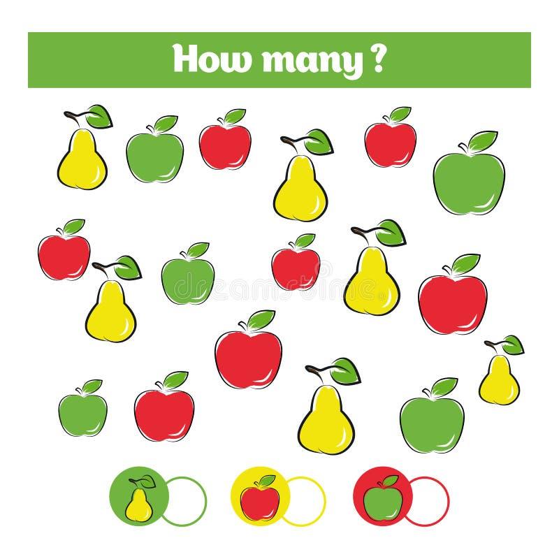 Contando o jogo educacional das crianças, folha da atividade das crianças Quantos objetos se encarregam Aprendendo a matemática,  ilustração stock