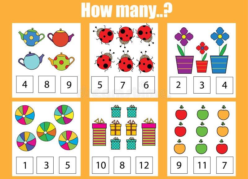 Contando o jogo educacional das crianças Quantos objetos se encarregam ilustração royalty free