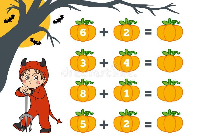 Contando o jogo para crianças Caráteres de Dia das Bruxas, diabo ilustração stock