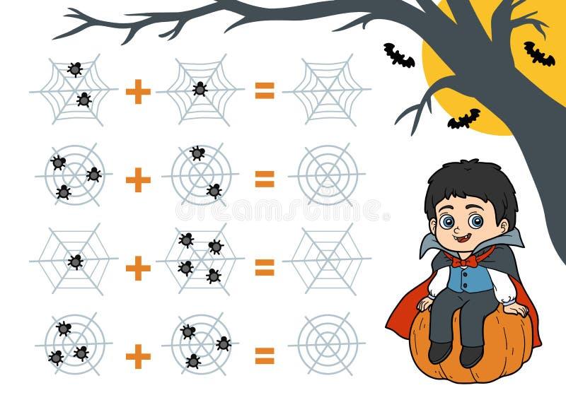 Contando o jogo para crianças prées-escolar Caráteres de Dia das Bruxas, coquete ilustração stock