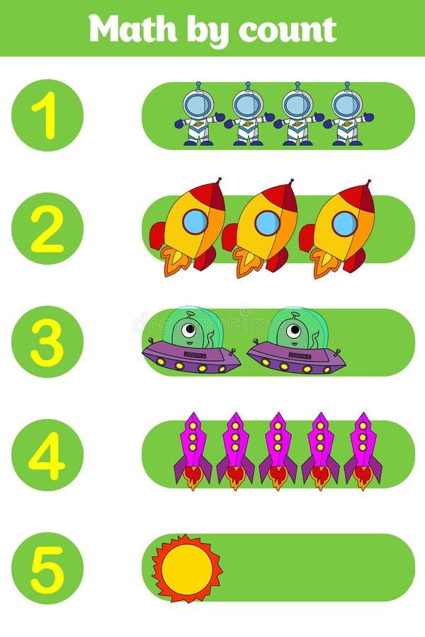 Contando o jogo para crianças prées-escolar Educacional um jogo matemático imagens de stock