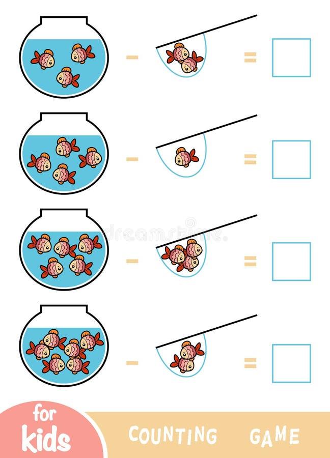 Contando o jogo para crianças prées-escolar Folhas da subtração Peixes e aquários ilustração do vetor