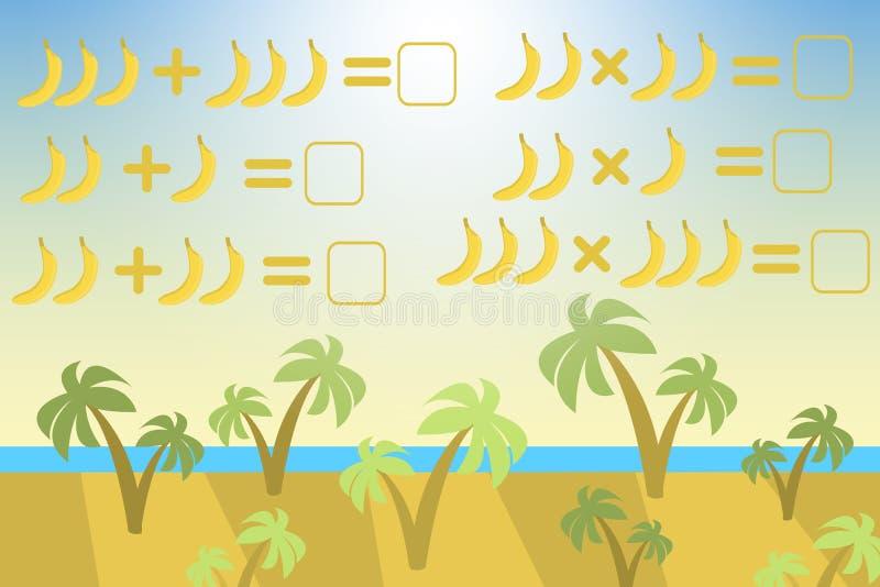 Contando o jogo para crianças prées-escolar Tarefa da matemática Quantos objetos Aprendendo a matemática, números ilustração royalty free