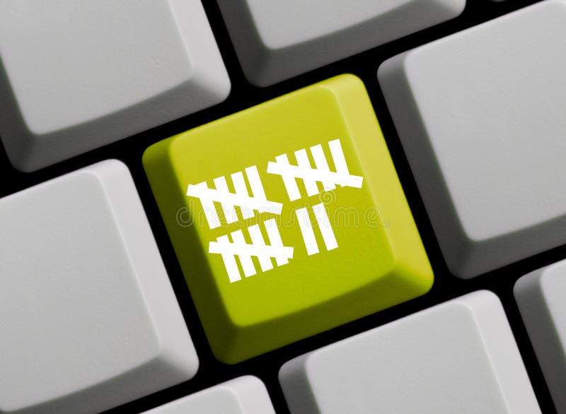 Contando o teclado do registro em linha fotografia de stock