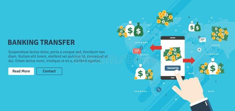 Contando trasferimento, transazione finanziaria e soldi illustrazione di stock