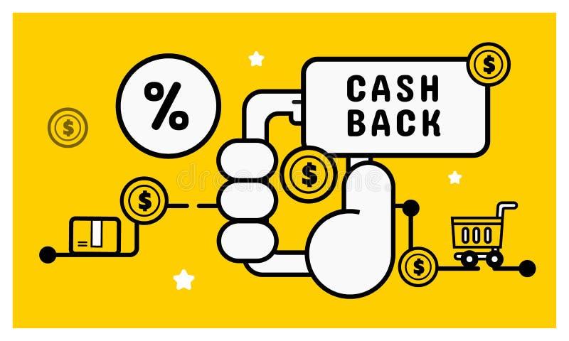 Contant geld achter online het winkelen concept Het mobiele Winkelen royalty-vrije illustratie