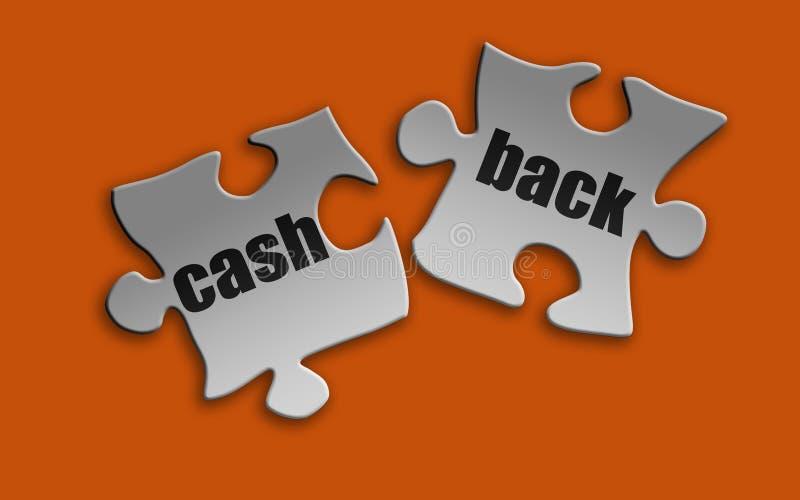 Contant geld achterwoord op wit raadsel stock illustratie