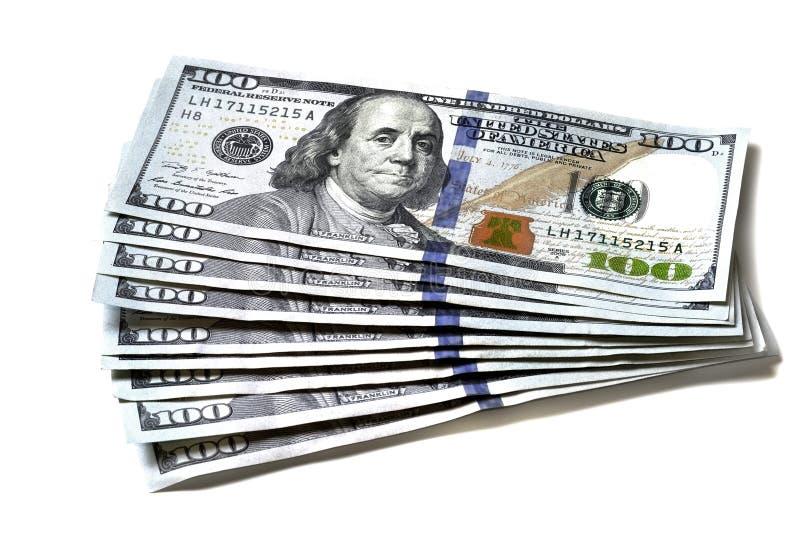 Contant geld Amerikaanse Dollars met $100 Honderd Dollar Rekeningen stock fotografie