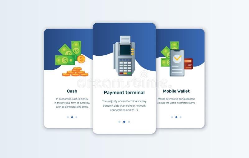 Contant geld App en de Mobiele vector onboarding malplaatjes van Portefeuilleconcepten royalty-vrije illustratie