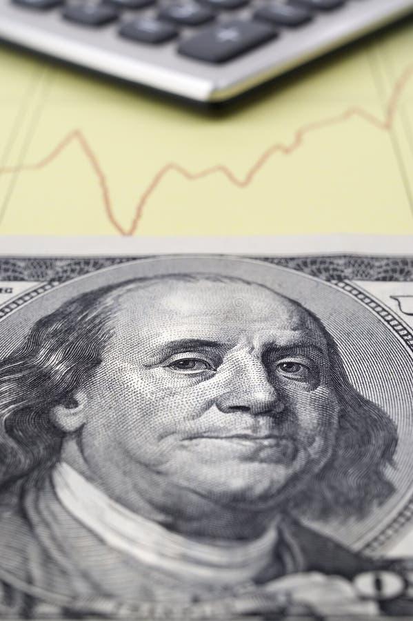 Contant geld, Calculator en Grafiek. royalty-vrije stock foto's