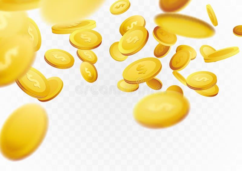 Contant geld gouden muntstukken die door de achtergrond van het scèneconcept vliegen stock illustratie