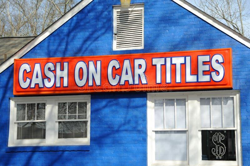 Contant geld op de Titels van de Auto stock afbeeldingen