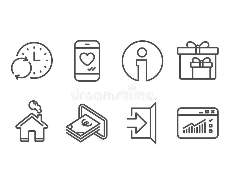 Contant geld, Updatetijd en de pictogrammen van Leveringsdozen Uitgang, Liefdepraatje en Webverkeersteken royalty-vrije illustratie