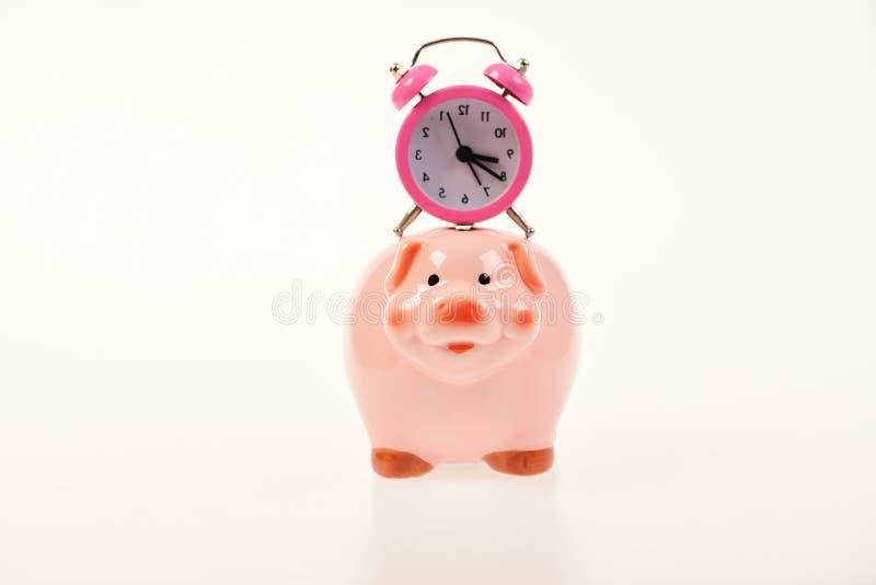 Contant gelddoos met financieel inkomen Spaarvarken met wekker stock foto's