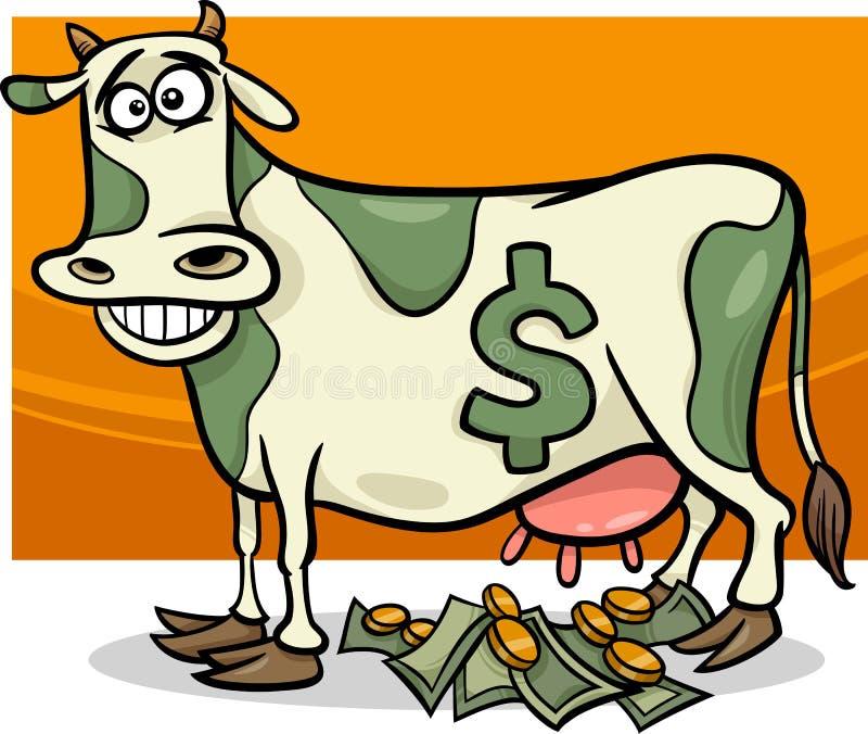 Contant geldkoe die beeldverhaalillustratie zeggen royalty-vrije illustratie