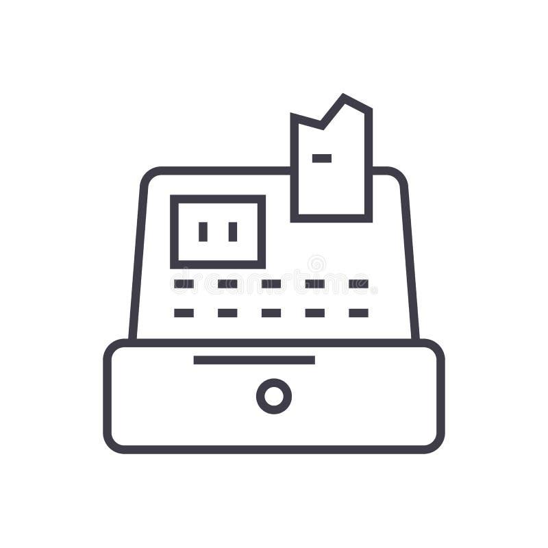 Contant geldmachine, kassier, pictogram van de kasregister het vectorlijn, teken, illustratie op achtergrond, editable slagen stock illustratie