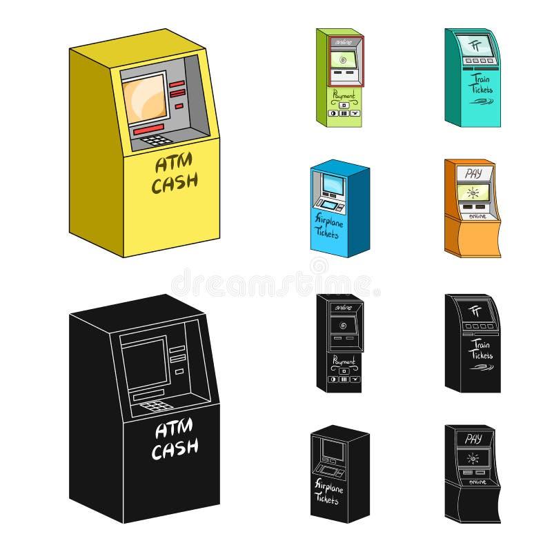 Contant geldmachine voor contant geld, terminal voor betaling, kaartjesmachine Terminals geplaatst inzamelingspictogrammen in bee royalty-vrije illustratie