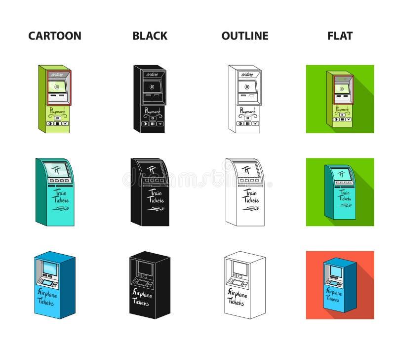 Contant geldmachine voor contant geld, terminal voor betaling, kaartjesmachine Terminals geplaatst inzamelingspictogrammen in bee vector illustratie