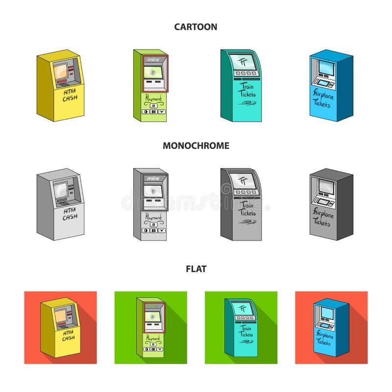 Contant geldmachine voor contant geld, terminal voor betaling, kaartjesmachine Terminals geplaatst inzamelingspictogrammen in zwa royalty-vrije illustratie