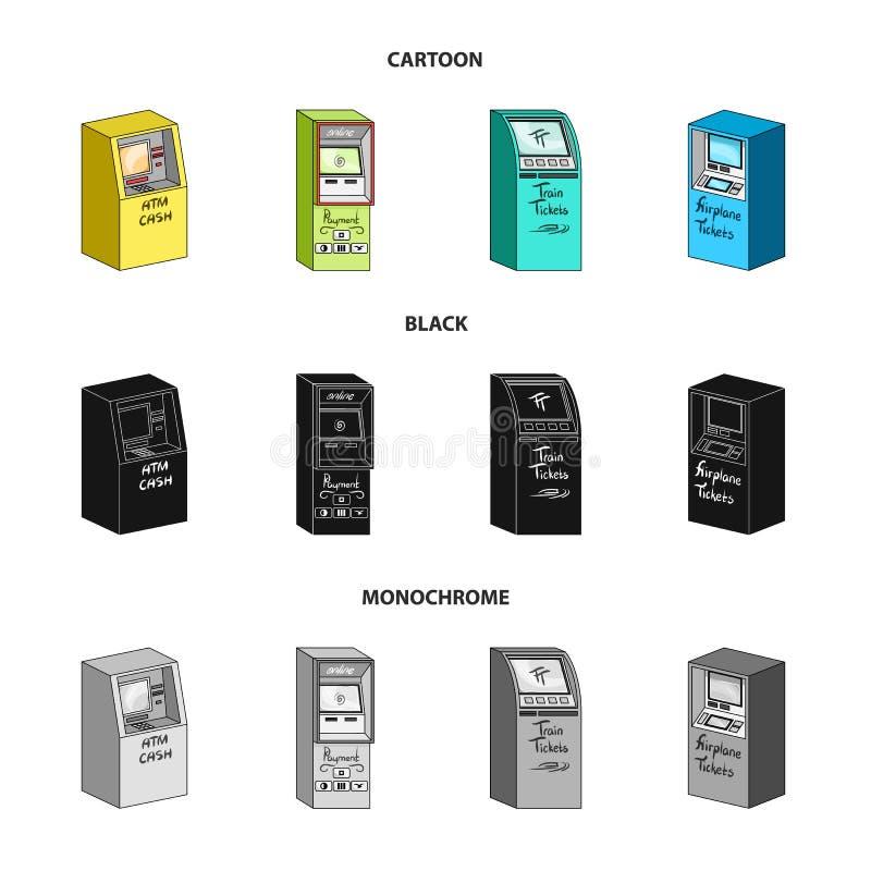Contant geldmachine voor contant geld, terminal voor betaling, kaartjesmachine Terminals geplaatst inzamelingspictogrammen in zwa vector illustratie