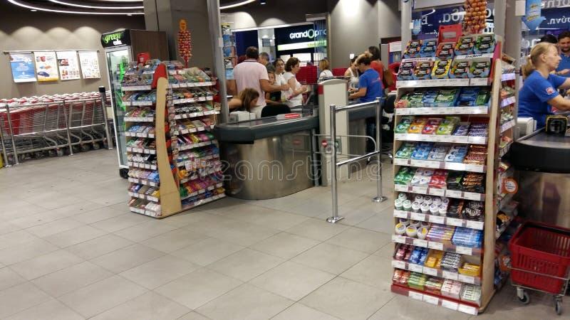 Contant geldpunt in supermarkt royalty-vrije stock foto