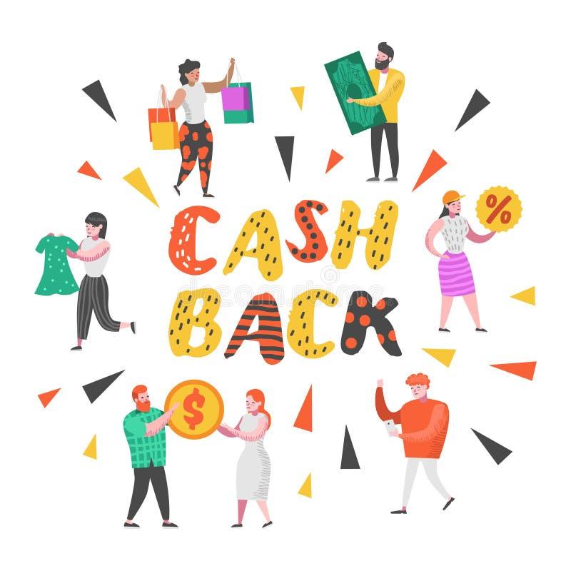 Contant geldrug en het Concept van de Geldterugbetaling Vlakke Mensenkarakters bij het Winkelen met Zakken en Geld Verkoop, Grote vector illustratie