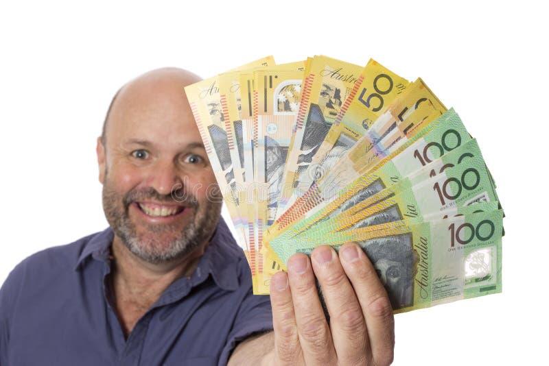 Contanti dei soldi di ricchezza e grande sorriso fotografia stock libera da diritti