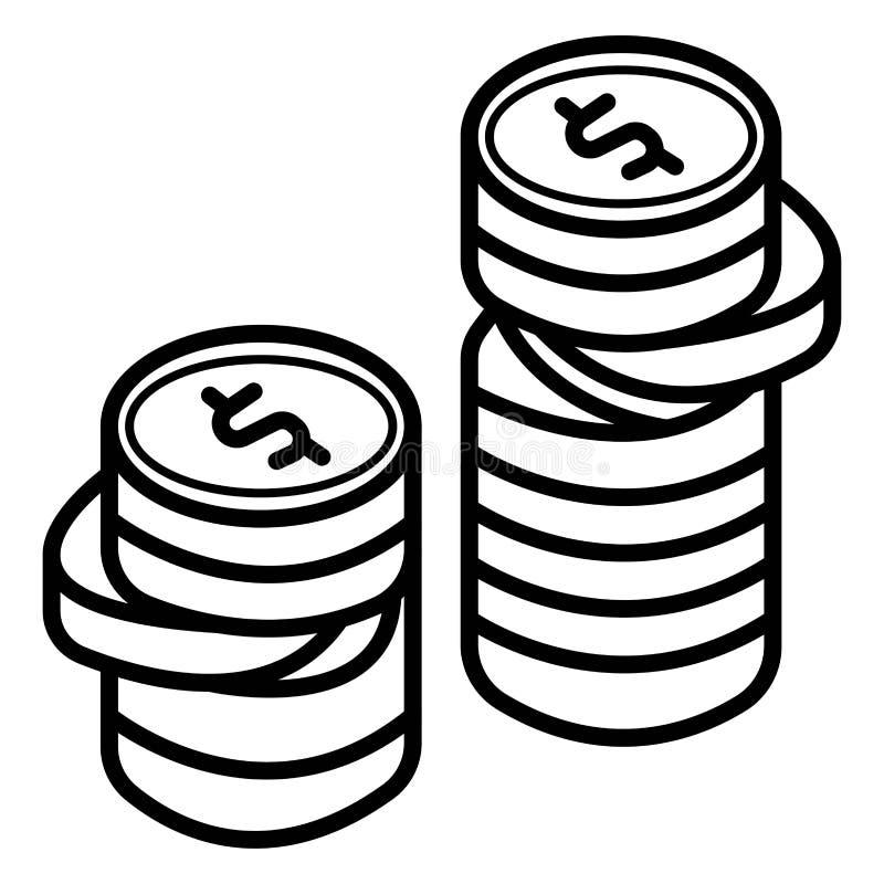Contanti del dollaro delle monete illustrazione vettoriale