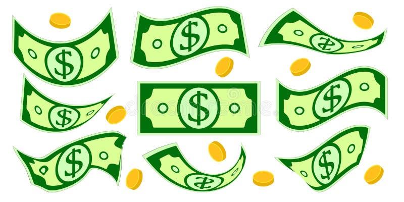 Contanti del dollaro Insieme isolato soldi di caduta Soldi e monete sgualciti Illustrazione di vettore illustrazione di stock