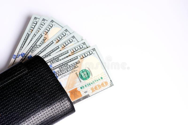 Contanti della nota del dollaro, fondo del dollaro Un lotto di cento primi piani delle banconote in dollari Dollari in portafogli fotografia stock