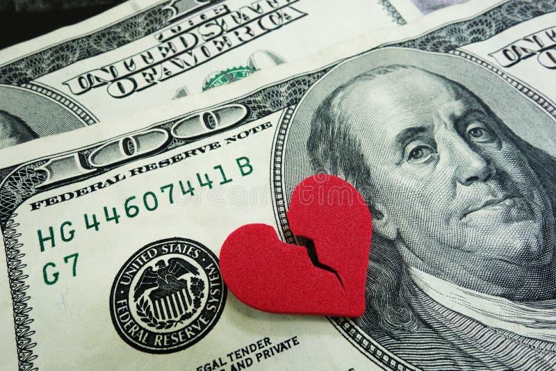 Contanti di divorzio immagini stock libere da diritti