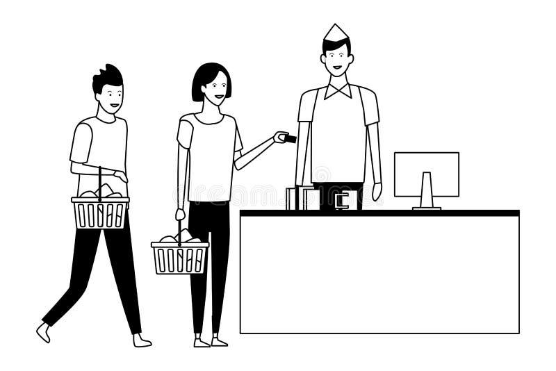 Contanti e clienti del supermercato con i cestini della spesa in bianco e nero royalty illustrazione gratis