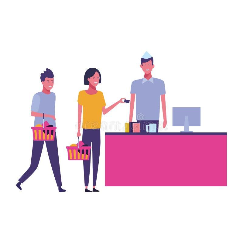 Contanti e clienti del supermercato con i cestini della spesa illustrazione di stock