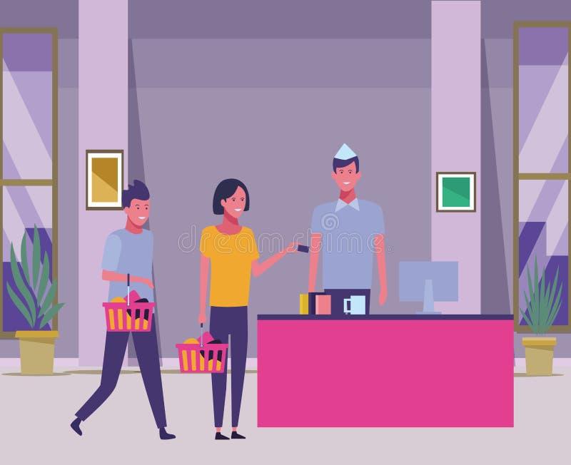 Contanti e clienti del supermercato con i cestini della spesa illustrazione vettoriale