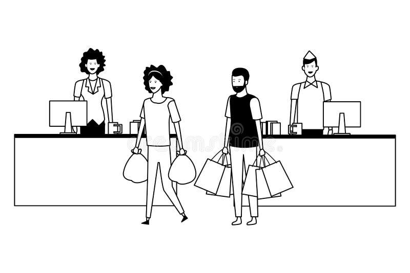 Contanti e clienti del supermercato con i sacchetti della spesa in bianco e nero illustrazione di stock