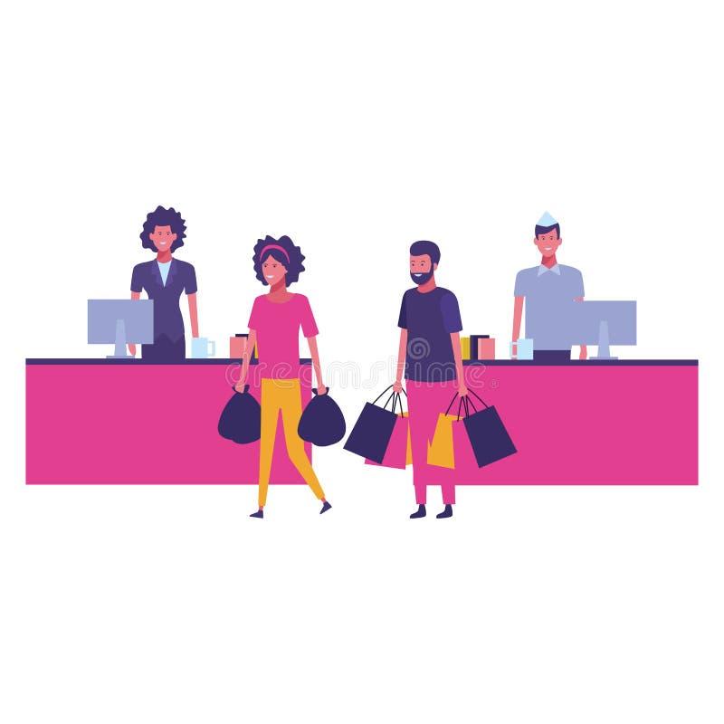 Contanti e clienti del supermercato con i sacchetti della spesa illustrazione di stock