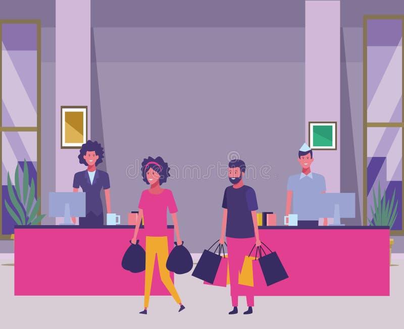 Contanti e clienti del supermercato con i sacchetti della spesa illustrazione vettoriale