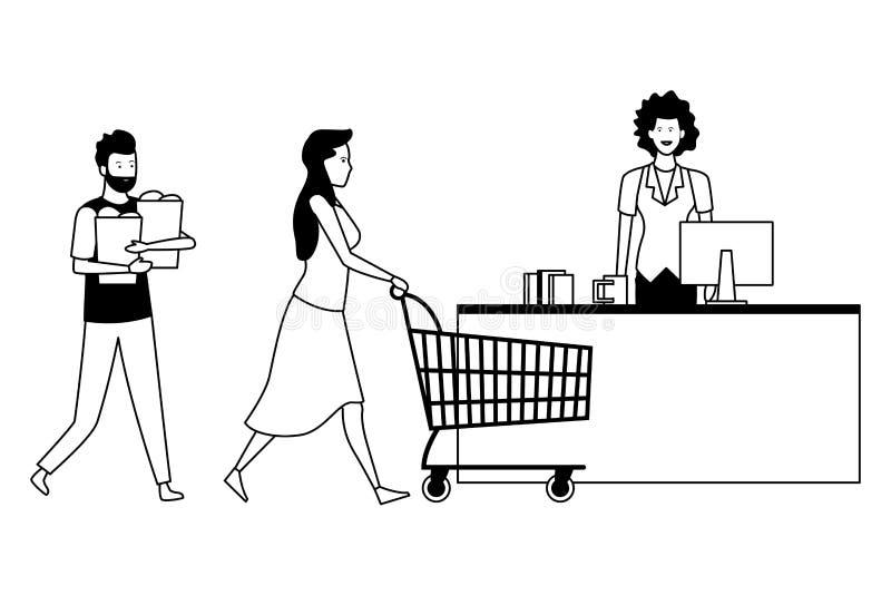 Contanti e clienti del supermercato con il carrello in bianco e nero royalty illustrazione gratis