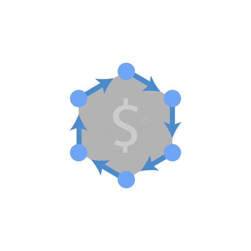 Contanti, flusso, finanza, soldi, contando l'icona blu e grigia di colore due illustrazione vettoriale