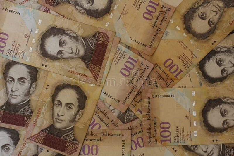 Contanti venezuelani di Bolivares BS 100 dei soldi di valuta immagini stock libere da diritti