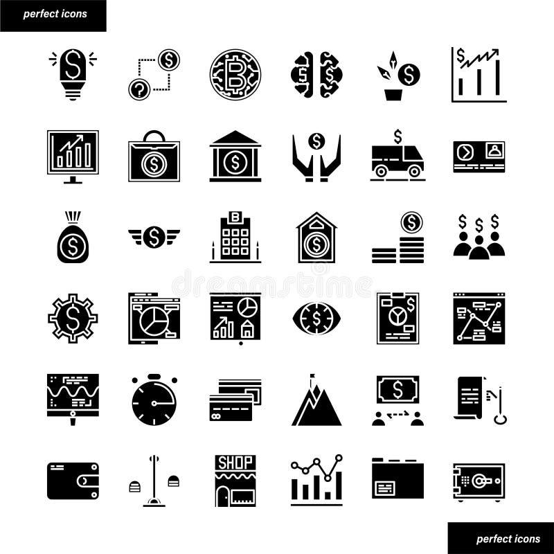 Contare ed icone solide finanziarie messi immagini stock libere da diritti