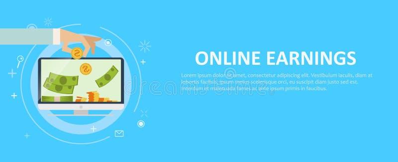 Contare online dei guadagni illustrazione vettoriale