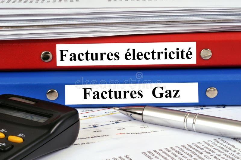 Contas da eletricidade e de gás em francês fotografia de stock royalty free