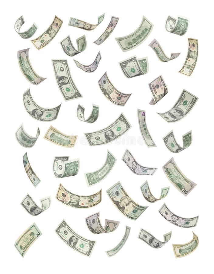Contas de dinheiro americanas que flutuam para baixo