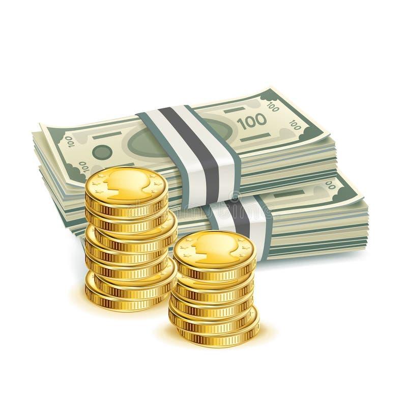Contas de dinheiro e pilha de moedas ilustração do vetor