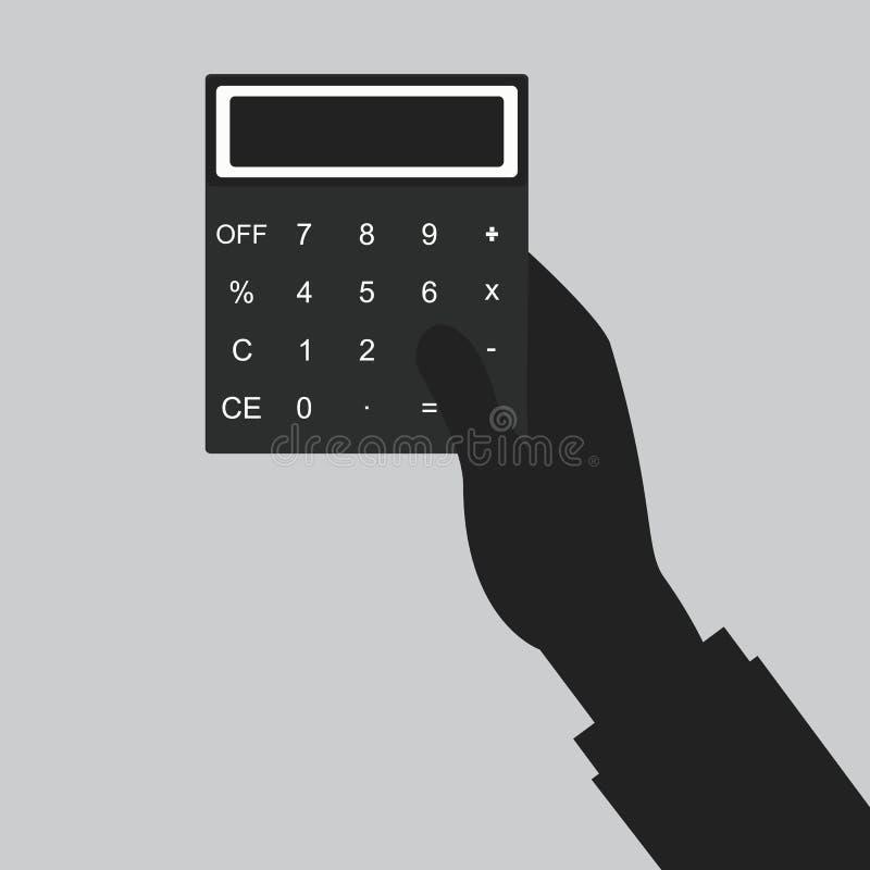 Contas pagando Ícone da calculadora e Mão que guarda a calculadora ilustração do vetor