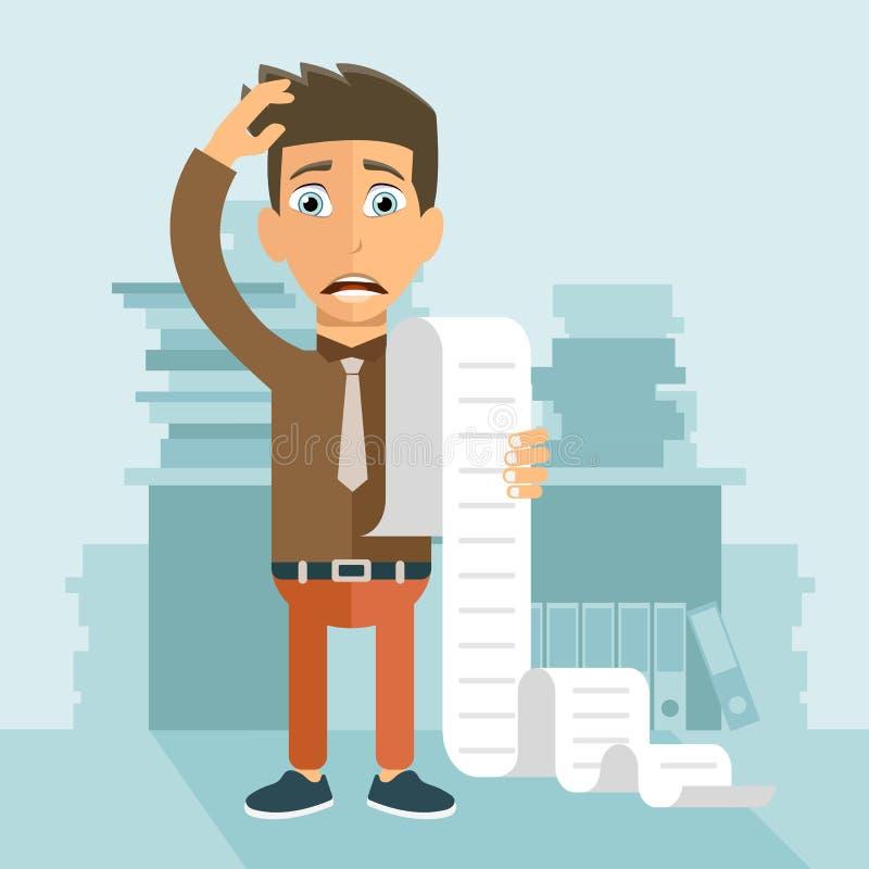 Contas pagando e conceito dos impostos O homem preocupou-se sobre suas contas Vetor liso ilustração stock